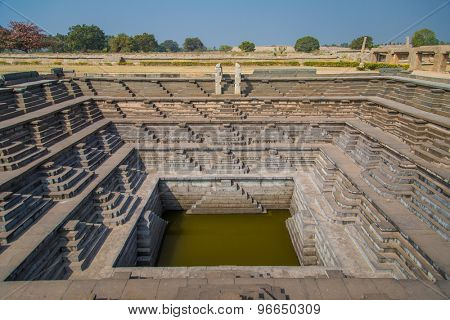 Stepped tank in Hampi, a UNESCO World Heritage Site.