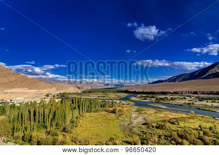 Aerial View Of Leh City, Landscape Of Ladakh, Jammu And Kashmir, India