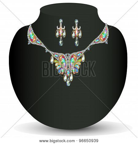 illustration of a necklace with her wedding with  precious stones