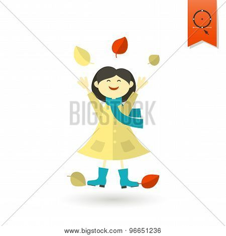 Cheerful Girl with Leaves