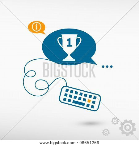 Champions Cup And Keyboard On Chat Speech Bubbles