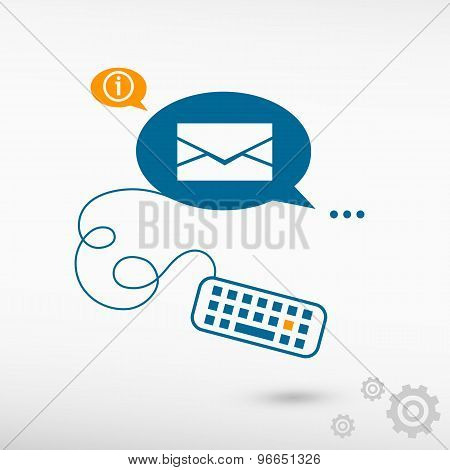 Envelope Icon And Keyboard On Chat Speech Bubbles