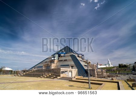 Pyramid Restaurant And The Kazan Kremlin In The Background.