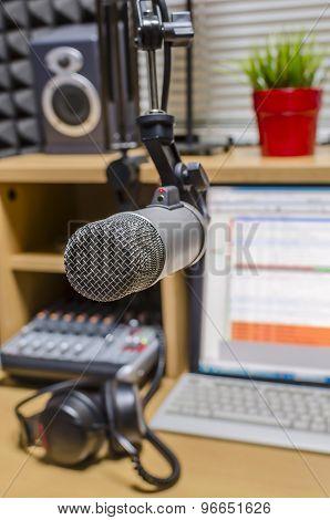 microphone in small radio studio
