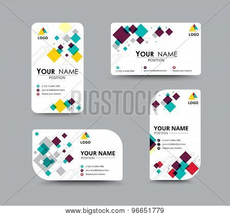 Business Card Template For Replace Name With Mosaic Concept. Vector Illustration.
