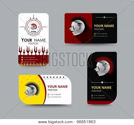 Heavy Business Card Design Set. Design With Punk Concept. Vector Illustration.