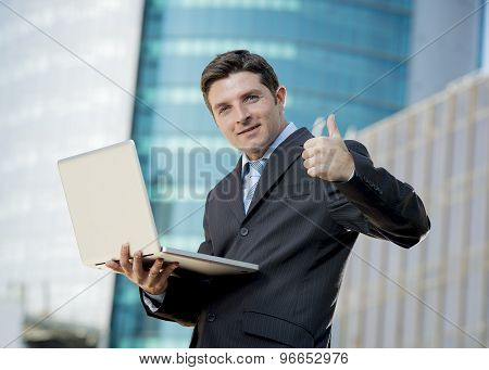 Businessman Holding Computer Laptop Working Urban Business Outdoors