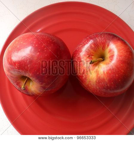 Two Red Apples on a Red Dish