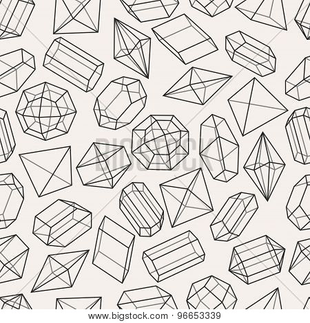 Seamless pattern with geometric crystals and minerals
