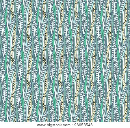 Vector Hand Drawn Colorful Seaweed Seamless Pattern. Graphic Seaweed Background.