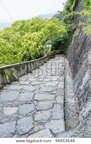 Stone Brick Ladder Walkway On Hill