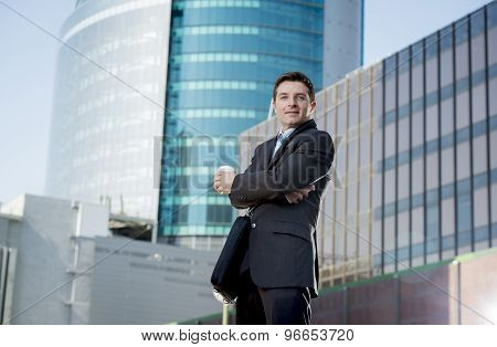 Corporate Portrait Businessman Smiling Happy Confident Standing Outdoors
