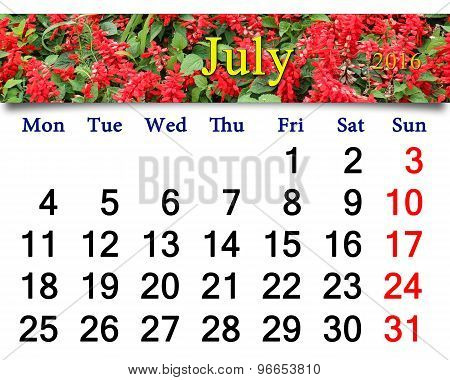 Calendar For July 2016 With Image Of Salvia