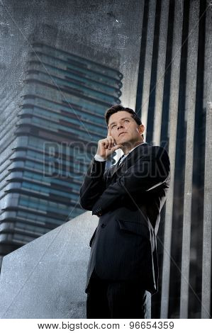 Corporate Portrait Young Attractive Businessman Standing Outdoors With Attitude