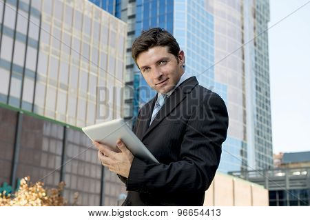 Corporate Portrait Young Businessman Working With Digital Tablet Outdoors