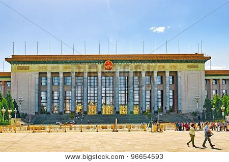 Beijing, China - May 19, 2015: People,  Citizens Of Beijing, Walk On Tiananmen Square Near Chinese P