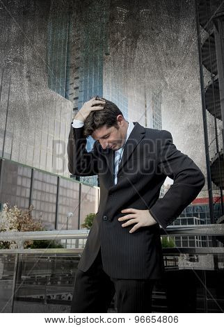 Exhausted Worried Businessman Outdoors In Stress And Depression