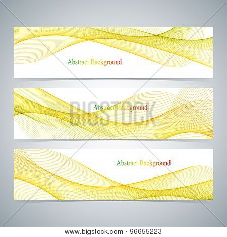 Abstract set of colorful banners with curved lines. Vector illustration