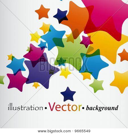 Colorful translucent stars flying upwards on a light background