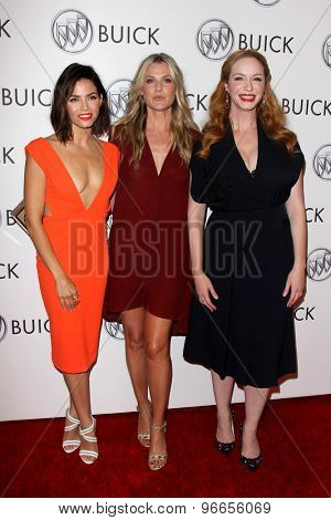 LOS ANGELES - JUL 22:  Jenna Dewan-Tatum, Ali Larter, Christina Hendricks at the 24 Hour Buick Happiness Test Drive Collaborators  at the Ace Museum on July 22, 2015 in Los Angeles, CA