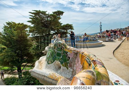 BARCELONA, SPAIN - MAY 02: Main Terrace at Parc Guell in Barcelona, Spaincentral terrace, with serpentine seating round its edge in May 02, 2015 in Barcelona, Spain.