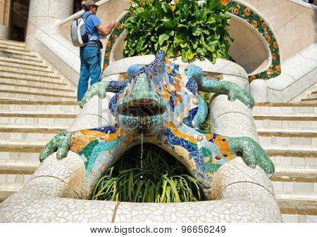 BARCELONA, SPAIN - MAY 02: Gaud's multicolored mosaic salamander, popularly known as