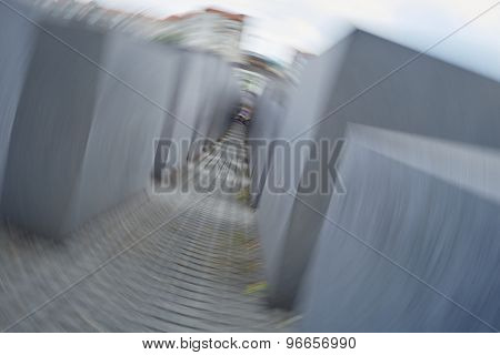 BERLIN, GERMANY - JULY 08: Memorial to the Murdered Jews of Europe photographed using a spin technique. July 08, 2015 in Berlin.
