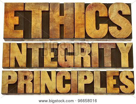 ethics, integrity and principles word abstract - isolated text in grunge letterpress wood type printing blocks