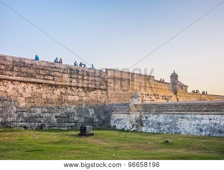 Colonial Spanish Fort And Caribbean Sea In Cartagena