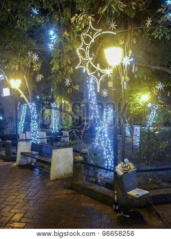 Historic Center Of Cartagena At Night
