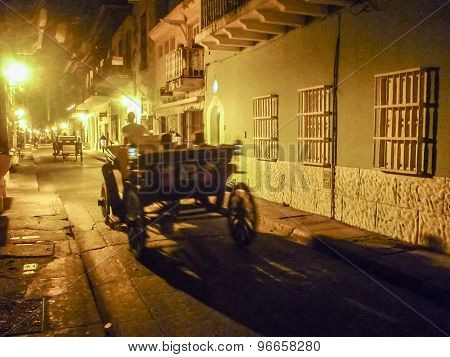 Historic Center Of Cartagena At Night