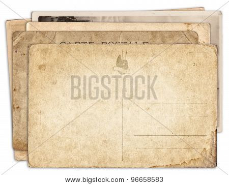 Stack Of Blank Old Vintage Postcard Isolated