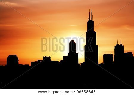 Chicago Skyline on the  sunset