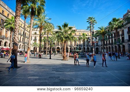 BARCELONA, SPAIN - MAY 02: Placa Reial (In Spanish Plaza Real, meaning