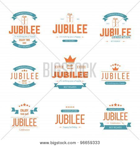 Vector set of jubilee signs, symbols.