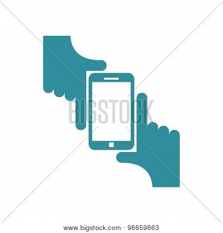Selfie Logo. Sign For Fans To Be Photographed. Two Hands Hold Smartphone. Vector Illustration