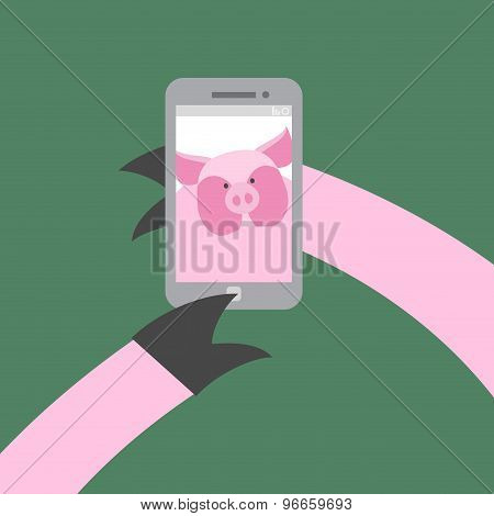Selfie Makes A Pig. Farm Animal Photographs Themselves. Vector Illustration. Hoof Push Buttons Of Yo