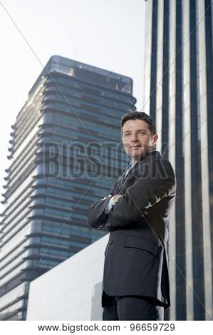 Corporate Portrait Attractive Businessman Standing Outdoors Urban Office Buildings