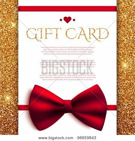 Gift Card With Red Bow On Golden Glitter Background. Vector Illustration