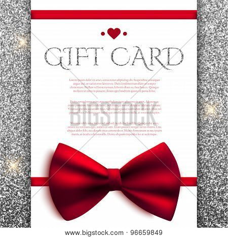 Gift Card With Red Bow On Silver Glitter Background. Vector Illustration