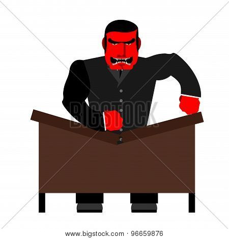 Big Boss Broke A Table. Red  Businessman As Loud In Office. Vector Illustration Of A Man.