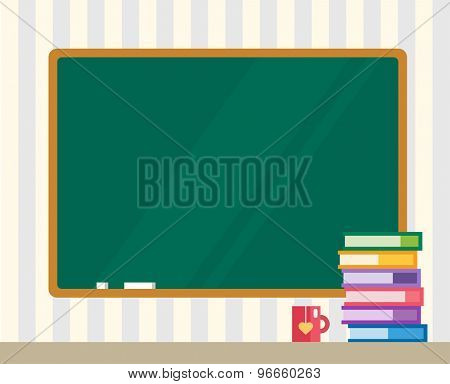 Books on desk. Clean board. Back to school. Education objects, or university and college symbols. Stock design elements.