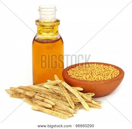 Golden Mustard With Empty Pods And Oil