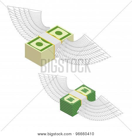 Money With Wings. Bundles Of Money Flying Around. Vector Illustration