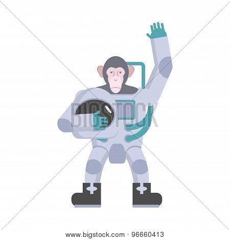 Monkey Astronaut Waving Hand. Animal Suit Keeps Helmet. Vector Illustration
