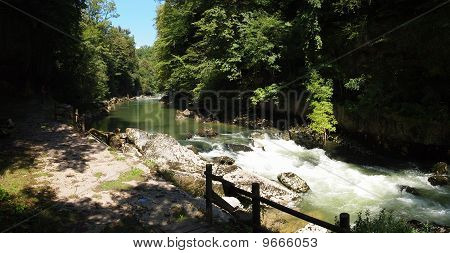 River In The Green Forest With Small Stunt In The Place Called Les Pertes De La Valserine, France, T