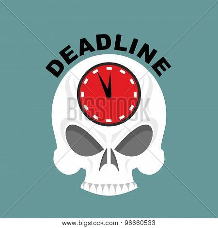Deadline. Skull With A Clock. Not Enough Time. Vector Illustration