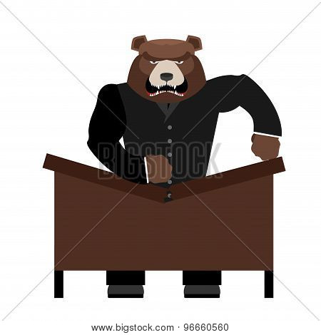 Big Scary Bear Boss Breaks Table. Aggressive Chef Yells. Office Vector Illustration