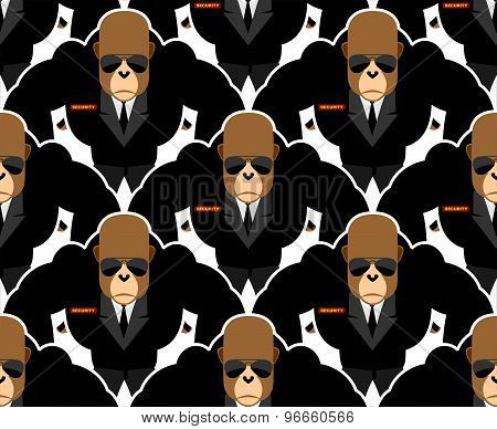 Security Guard Monkey Seamless Pattern. Bodyguards Gorilla Vector Background.
