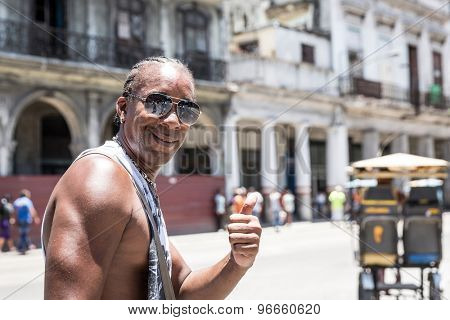 Sympathetic cuban man smiling in Havana, Cuba
